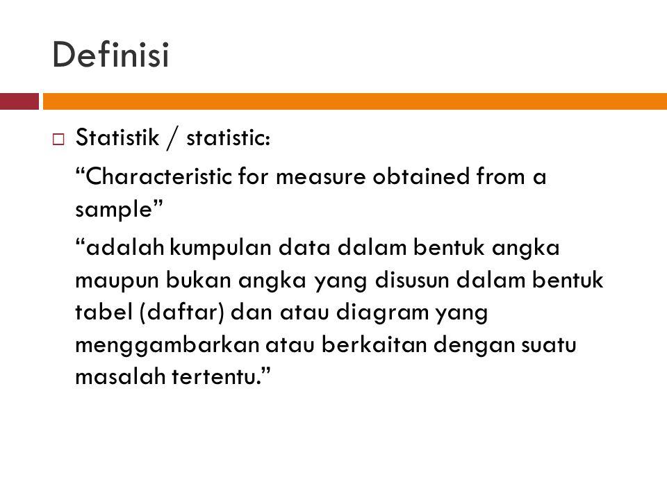 Definisi Statistik / statistic: