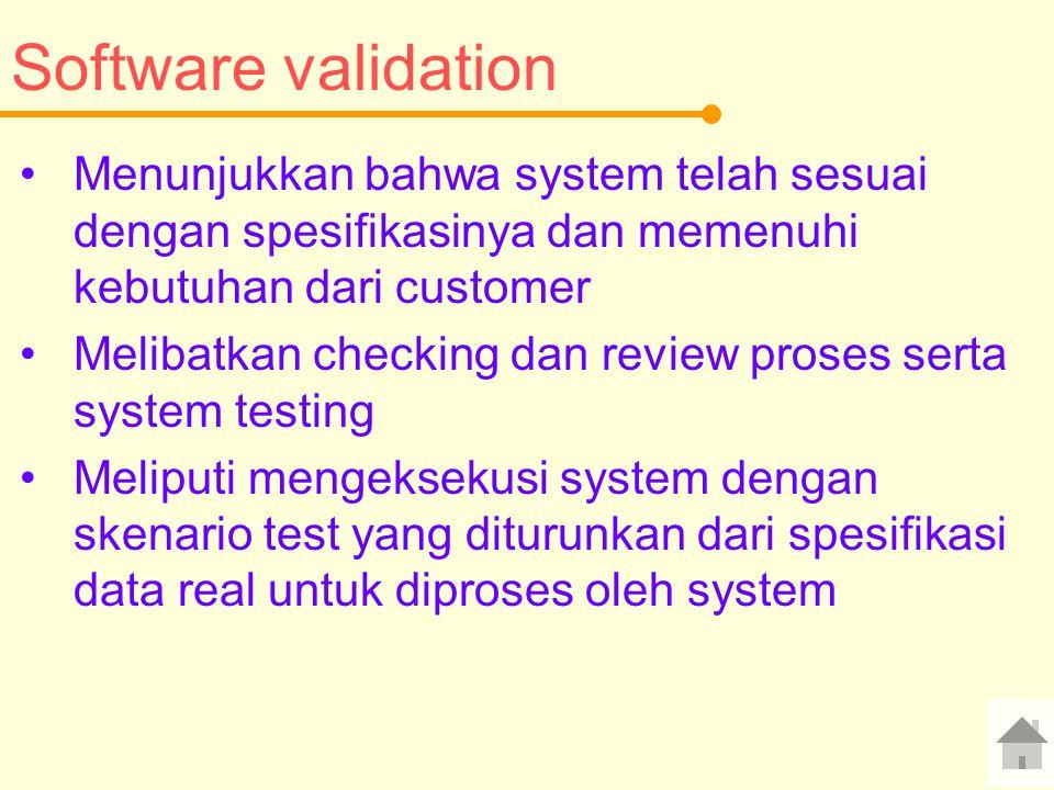 Software validation Menunjukkan bahwa system telah sesuai dengan spesifikasinya dan memenuhi kebutuhan dari customer.
