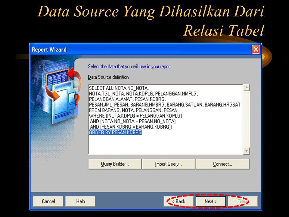 Data Source Yang Dihasilkan Dari Relasi Tabel
