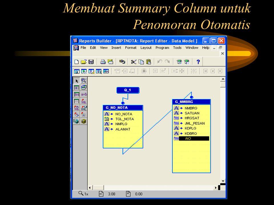 Membuat Summary Column untuk Penomoran Otomatis