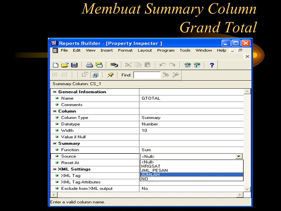 Membuat Summary Column Grand Total