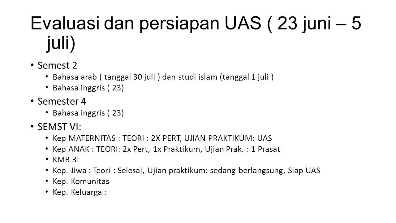 Evaluasi dan persiapan UAS ( 23 juni – 5 juli)