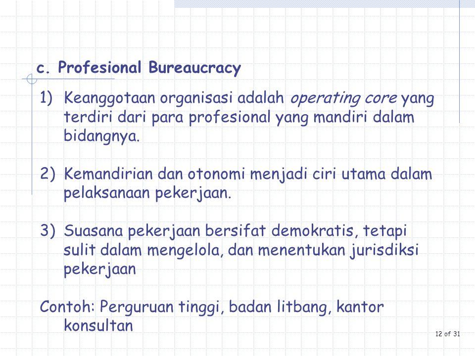c. Profesional Bureaucracy
