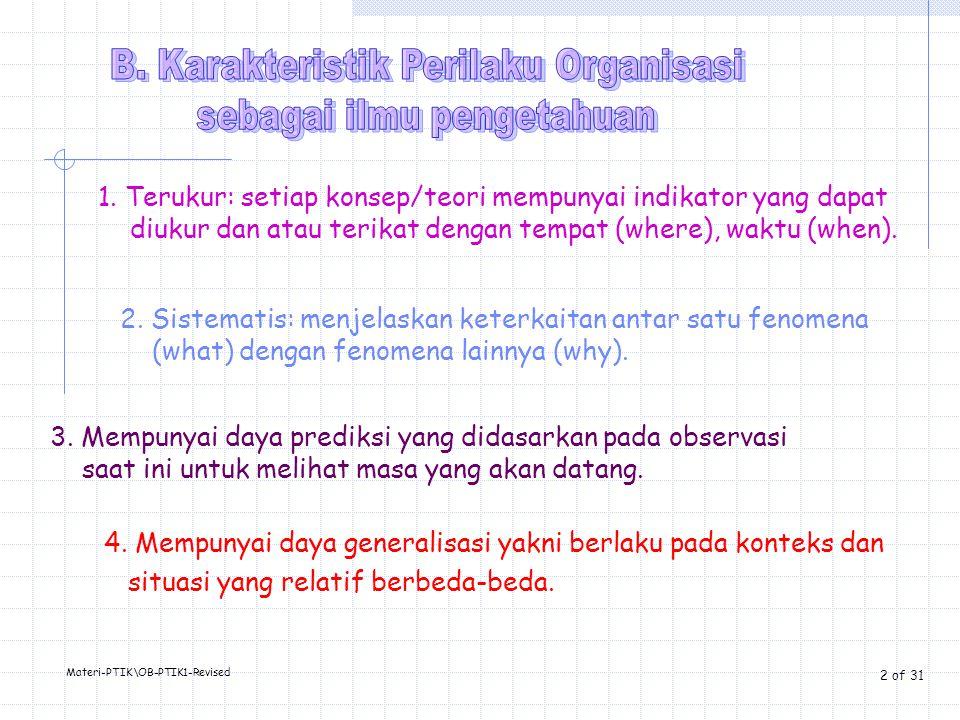 B. Karakteristik Perilaku Organisasi sebagai ilmu pengetahuan