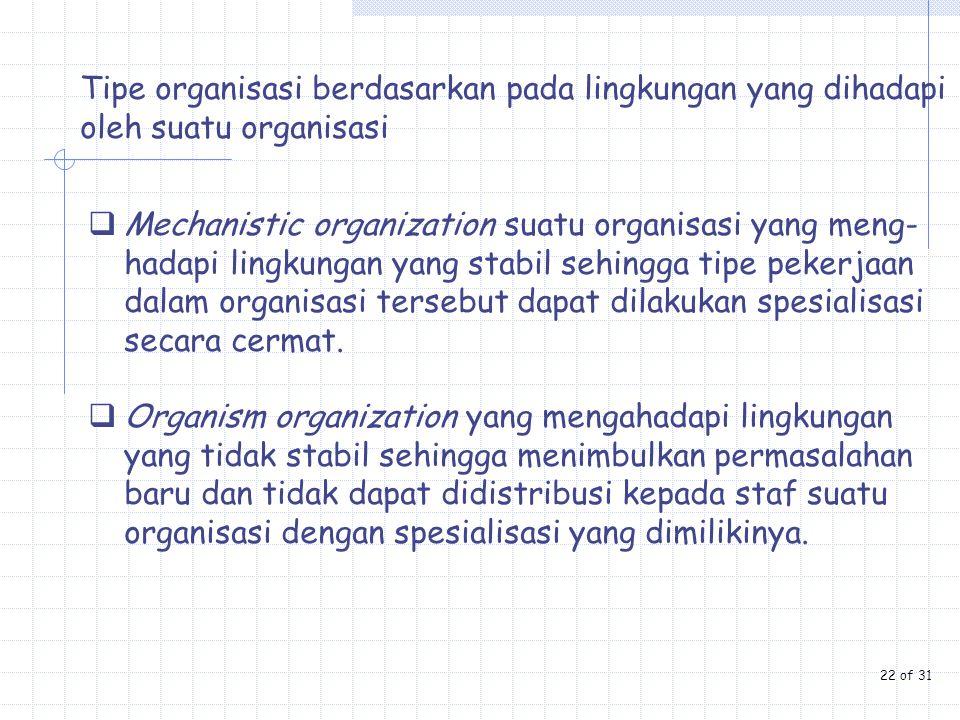 Tipe organisasi berdasarkan pada lingkungan yang dihadapi oleh suatu organisasi