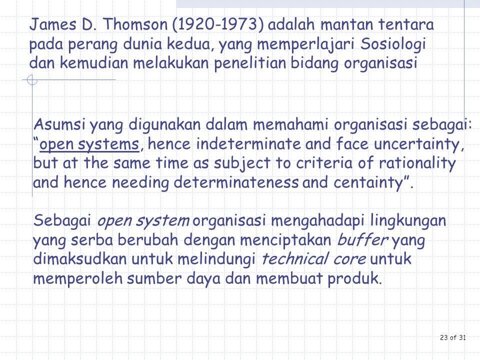James D. Thomson (1920-1973) adalah mantan tentara pada perang dunia kedua, yang memperlajari Sosiologi dan kemudian melakukan penelitian bidang organisasi