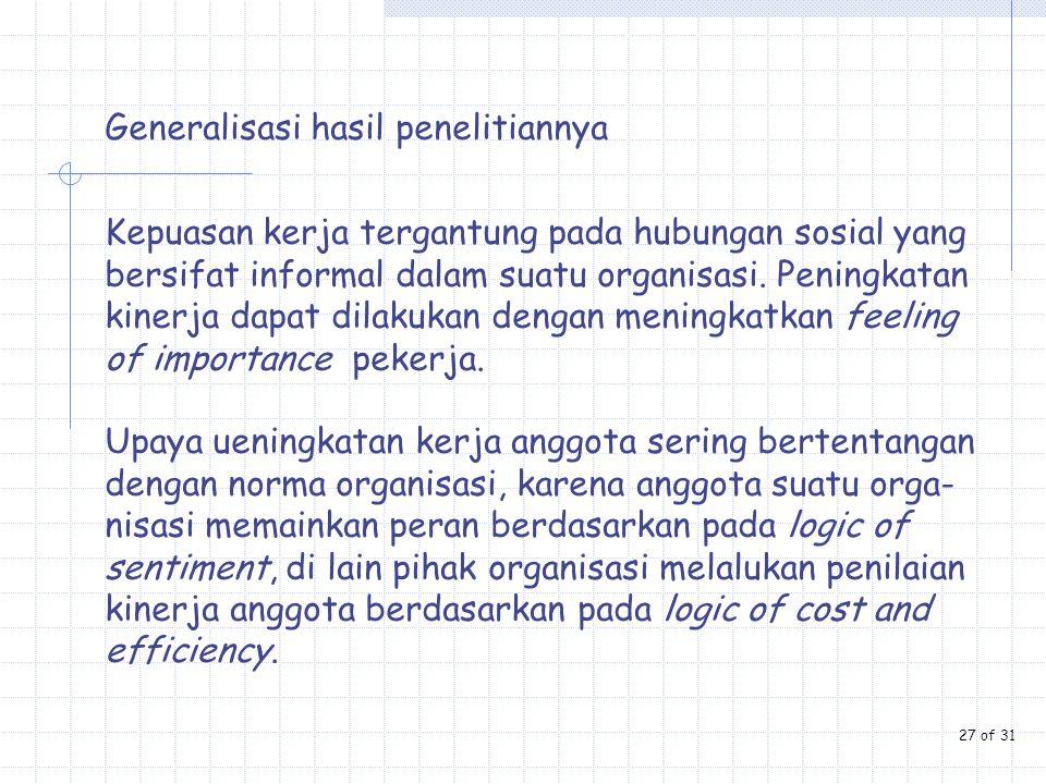 Generalisasi hasil penelitiannya