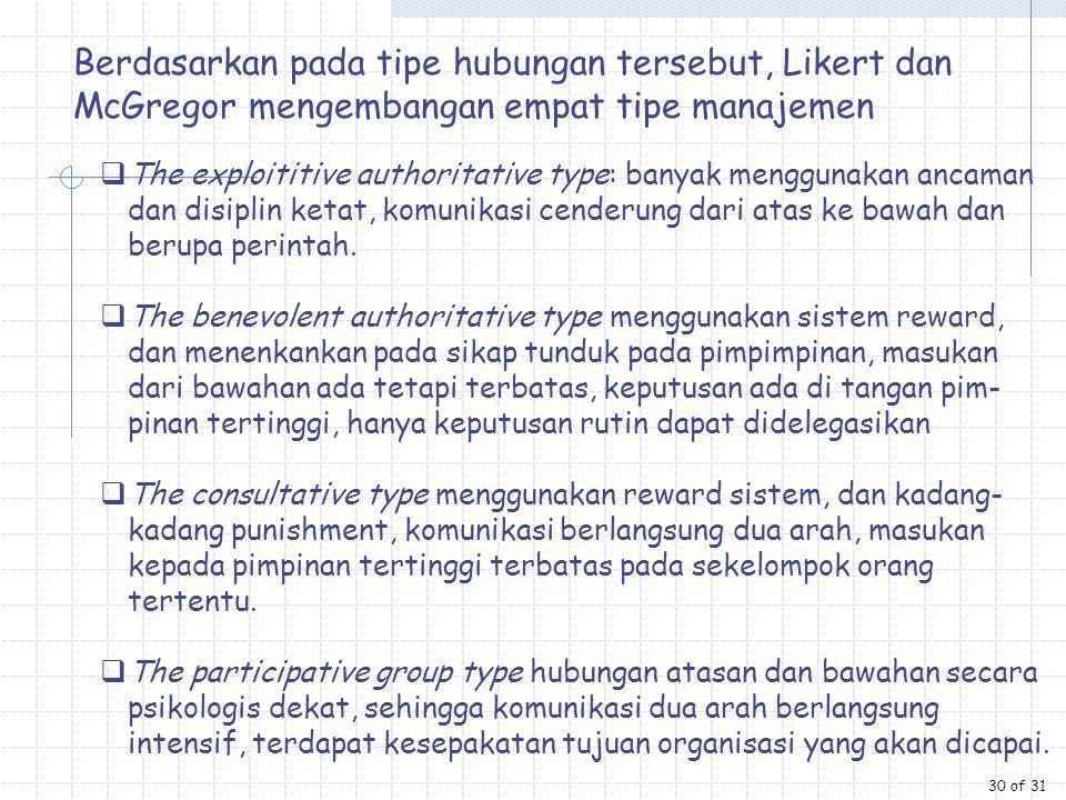 Berdasarkan pada tipe hubungan tersebut, Likert dan McGregor mengembangan empat tipe manajemen