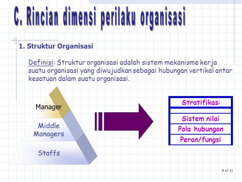 C. Rincian dimensi perilaku organisasi