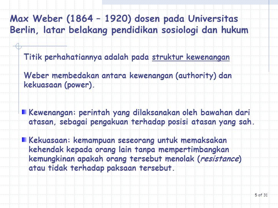 Max Weber (1864 – 1920) dosen pada Universitas