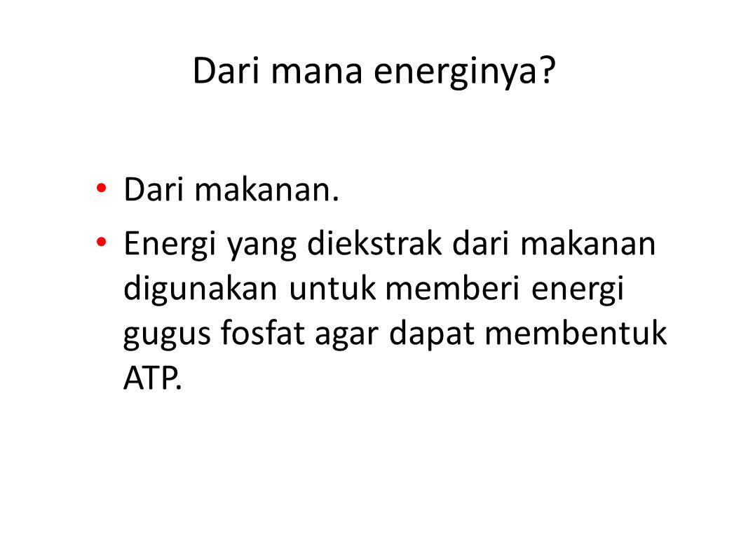 Dari mana energinya Dari makanan.
