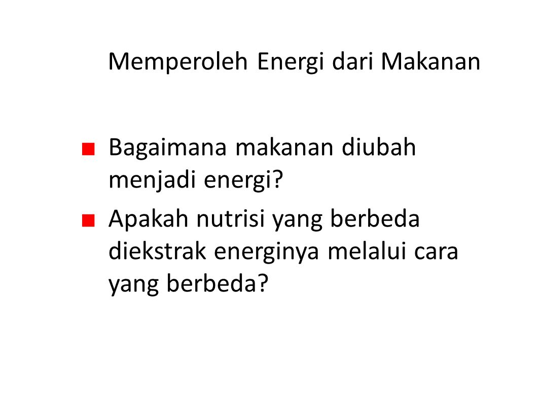 Memperoleh Energi dari Makanan