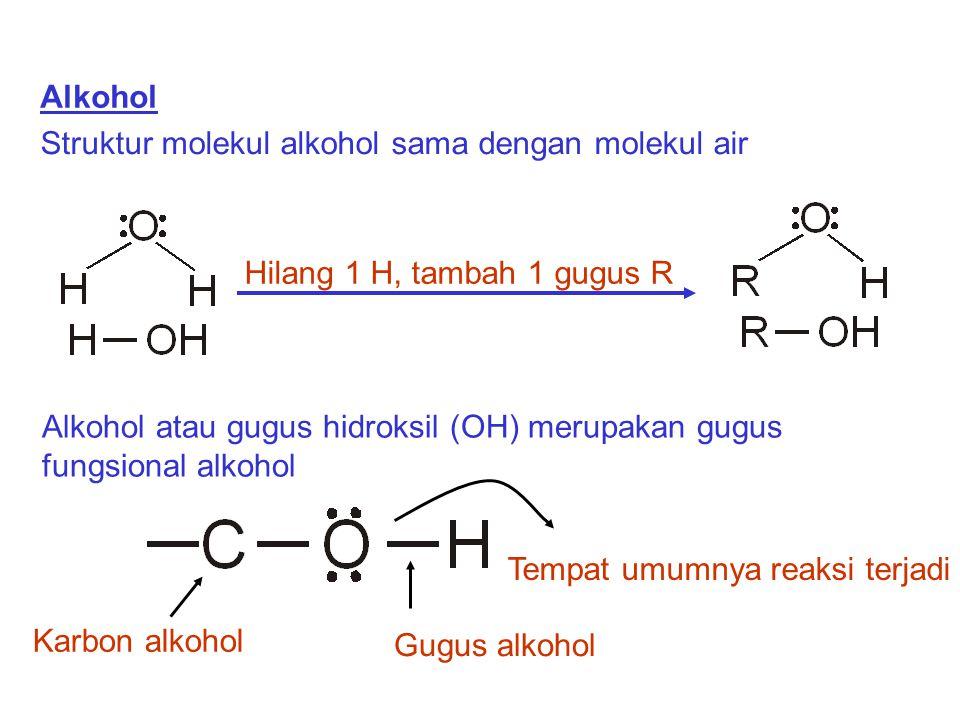 Alkohol Struktur molekul alkohol sama dengan molekul air. Alkohol atau gugus hidroksil (OH) merupakan gugus fungsional alkohol.