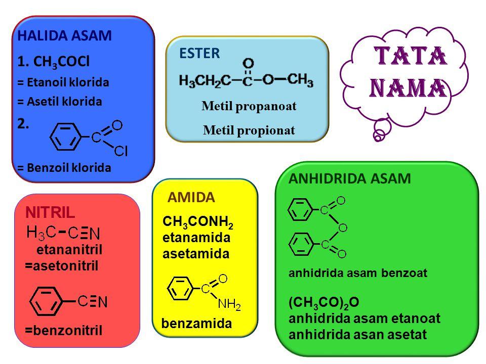 TATA NAMA HALIDA ASAM ESTER 1. CH3COCl 2. ANHIDRIDA ASAM AMIDA NITRIL