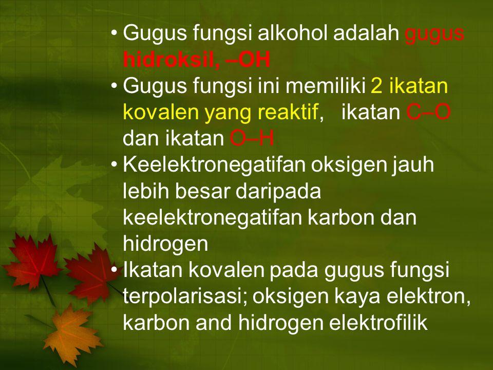 Gugus fungsi alkohol adalah gugus hidroksil, –OH