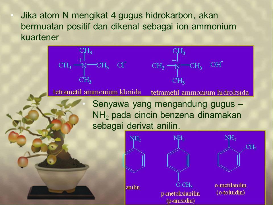 Jika atom N mengikat 4 gugus hidrokarbon, akan bermuatan positif dan dikenal sebagai ion ammonium kuartener