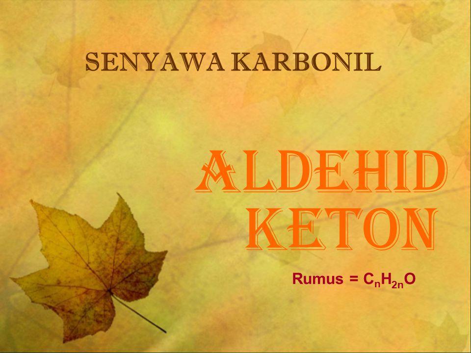 SENYAWA KARBONIL ALDEHID KETON Rumus = CnH2nO