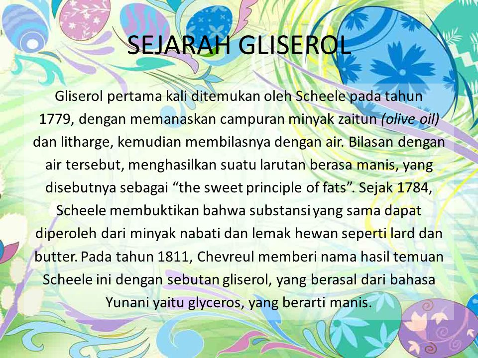 SEJARAH GLISEROL