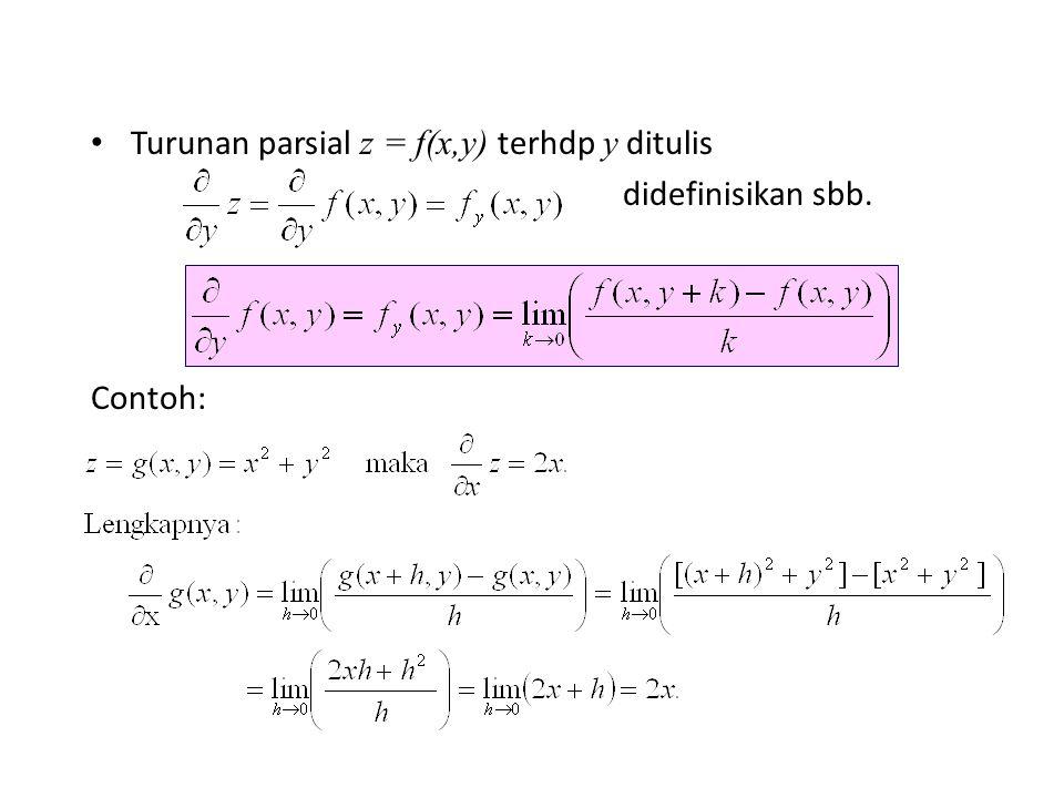 Turunan parsial z = f(x,y) terhdp y ditulis