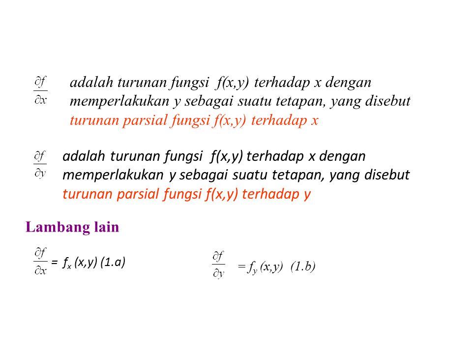 adalah turunan fungsi f(x,y) terhadap x dengan memperlakukan y sebagai suatu tetapan, yang disebut turunan parsial fungsi f(x,y) terhadap x