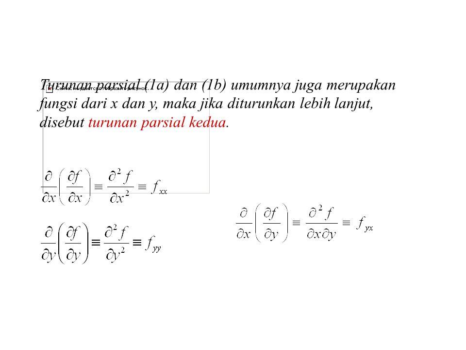Turunan parsial (1a) dan (1b) umumnya juga merupakan fungsi dari x dan y, maka jika diturunkan lebih lanjut, disebut turunan parsial kedua.