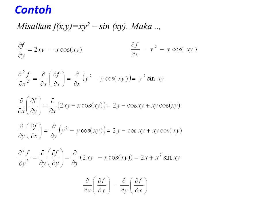 Contoh Misalkan f(x,y)=xy2 – sin (xy). Maka ..,