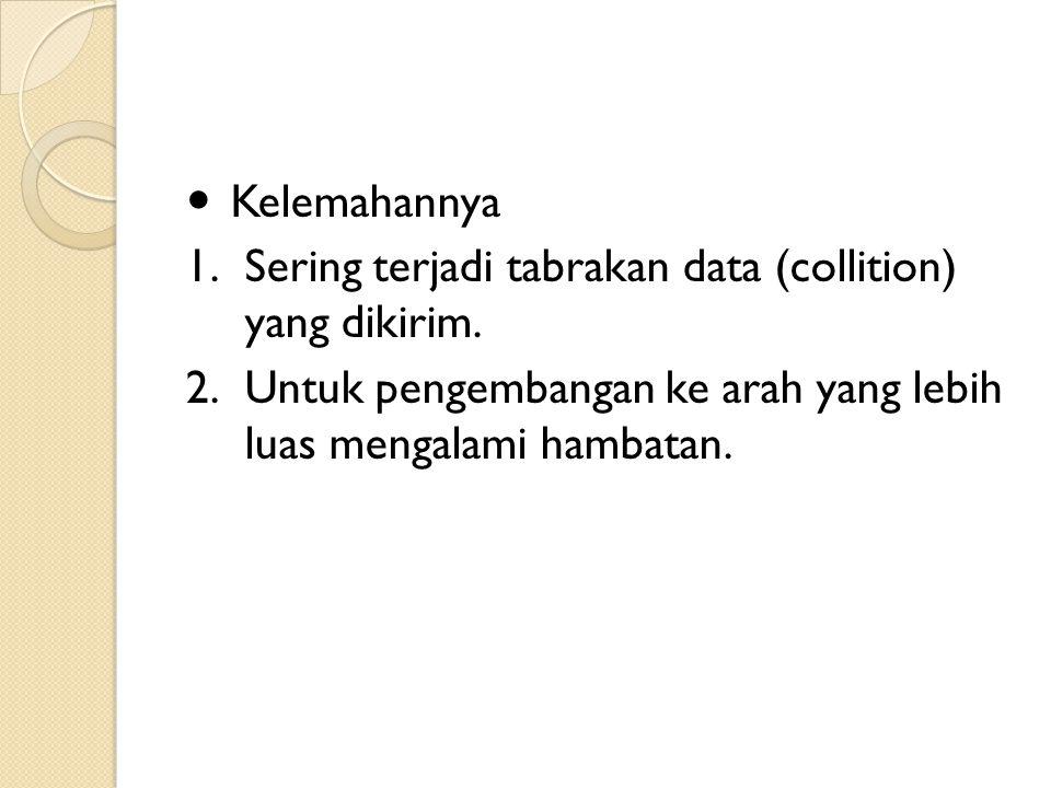 Kelemahannya Sering terjadi tabrakan data (collition) yang dikirim.
