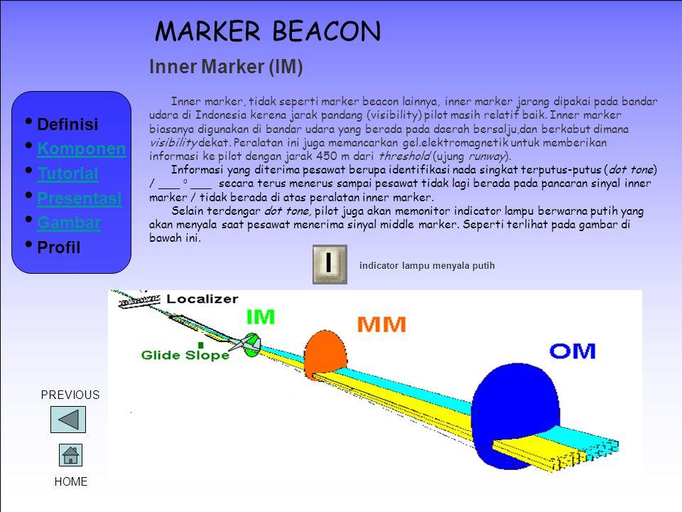 MARKER BEACON Inner Marker (IM) Definisi Komponen Tutorial Presentasi
