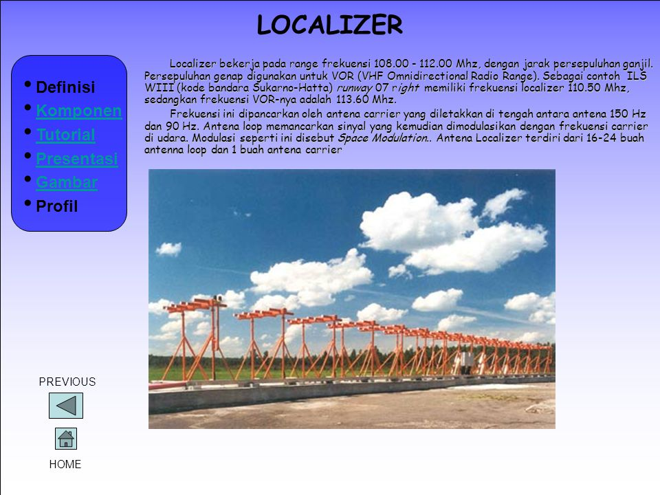 LOCALIZER Definisi Komponen Tutorial Presentasi Gambar Profil