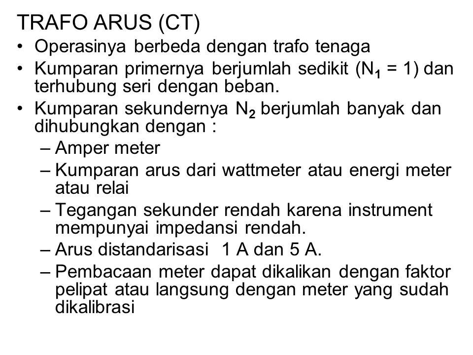 TRAFO ARUS (CT) Operasinya berbeda dengan trafo tenaga