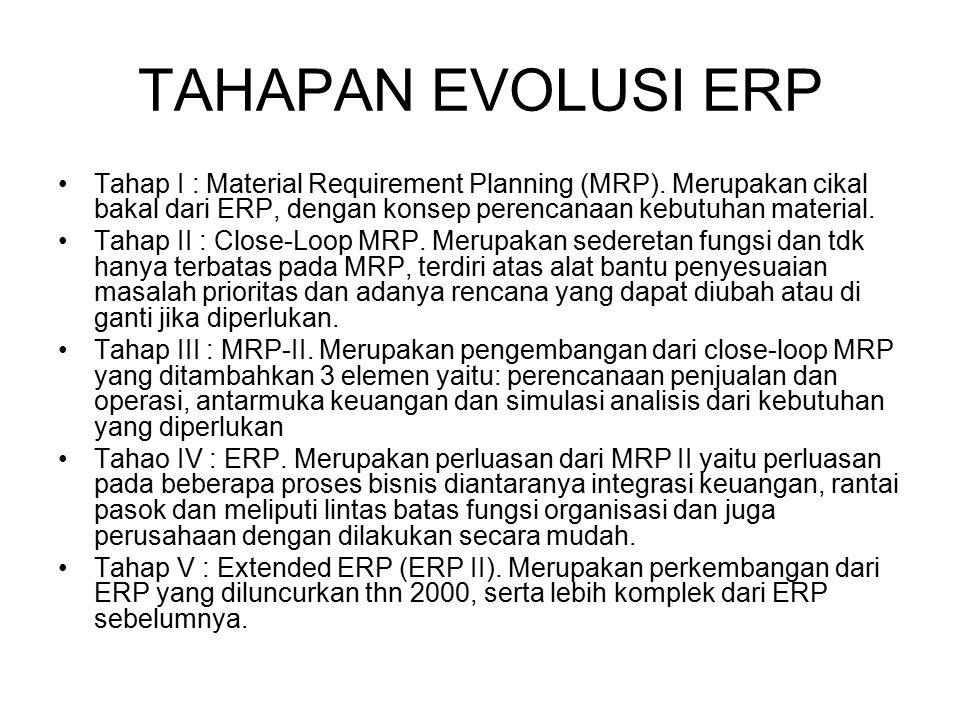 TAHAPAN EVOLUSI ERP Tahap I : Material Requirement Planning (MRP). Merupakan cikal bakal dari ERP, dengan konsep perencanaan kebutuhan material.