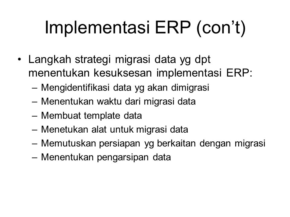 Implementasi ERP (con't)