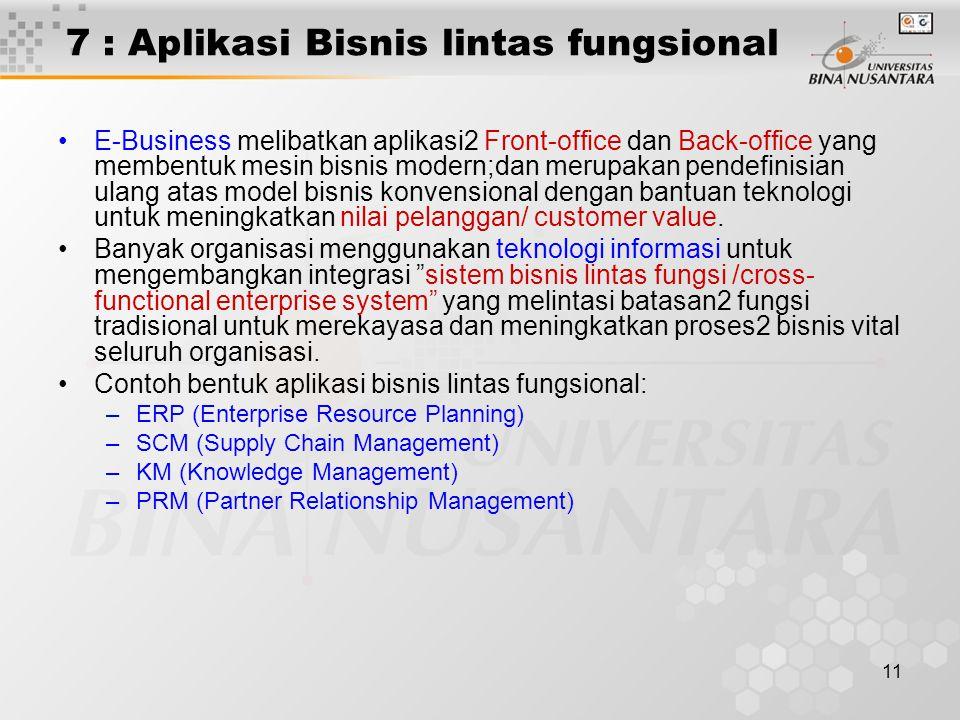 7 : Aplikasi Bisnis lintas fungsional