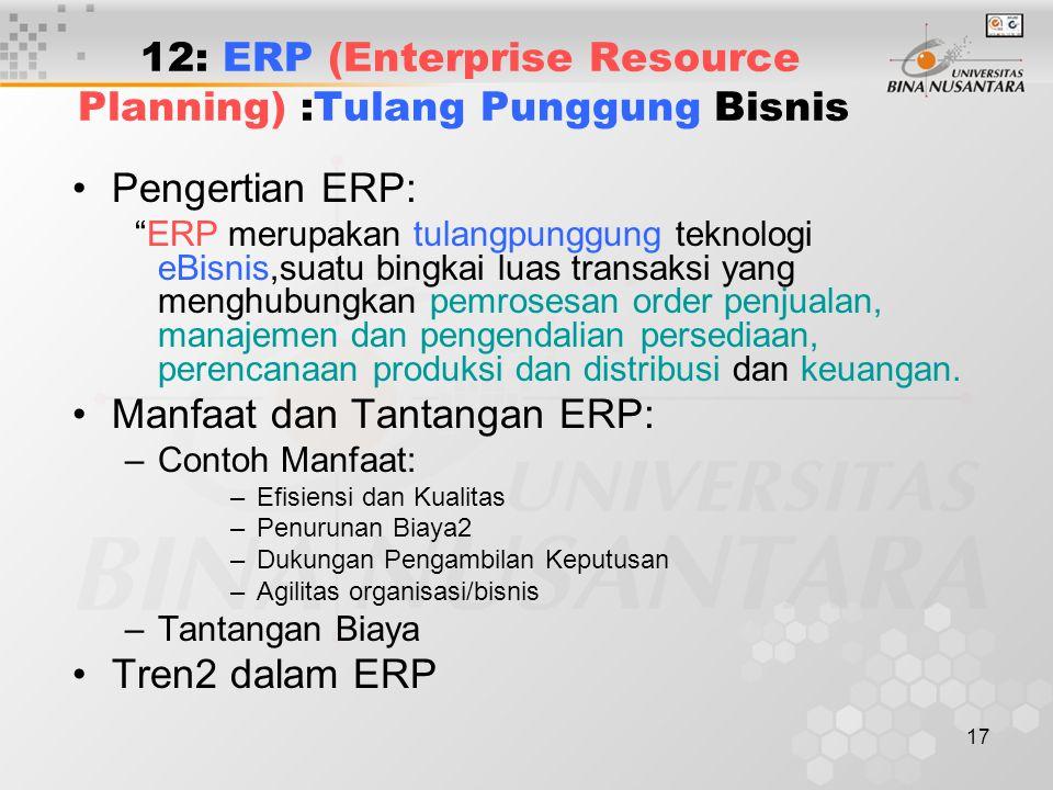 12: ERP (Enterprise Resource Planning) :Tulang Punggung Bisnis