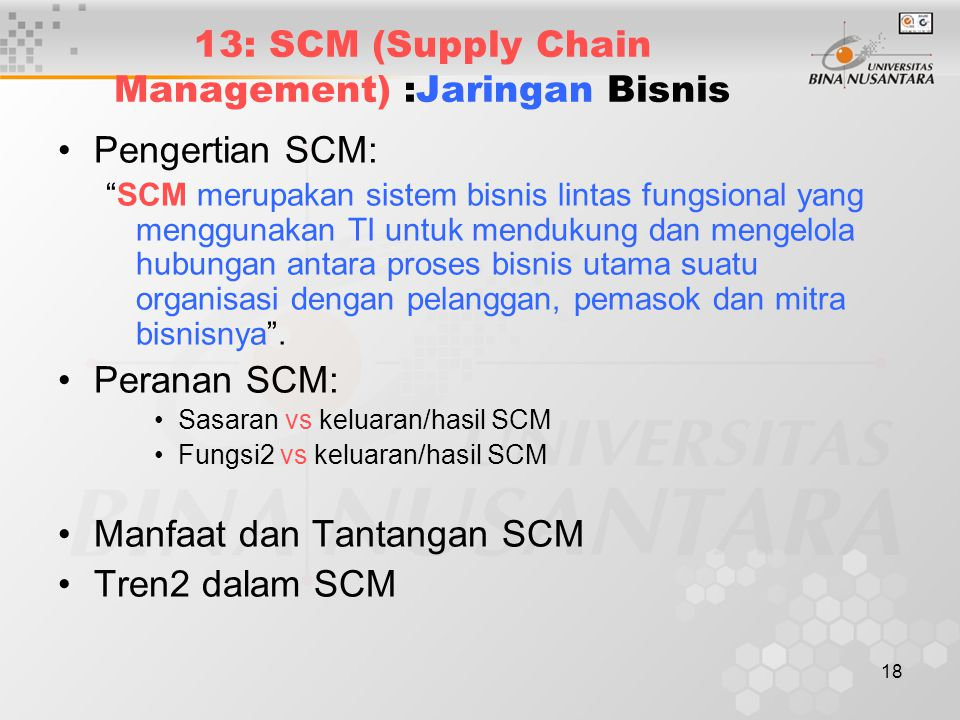 13: SCM (Supply Chain Management) :Jaringan Bisnis