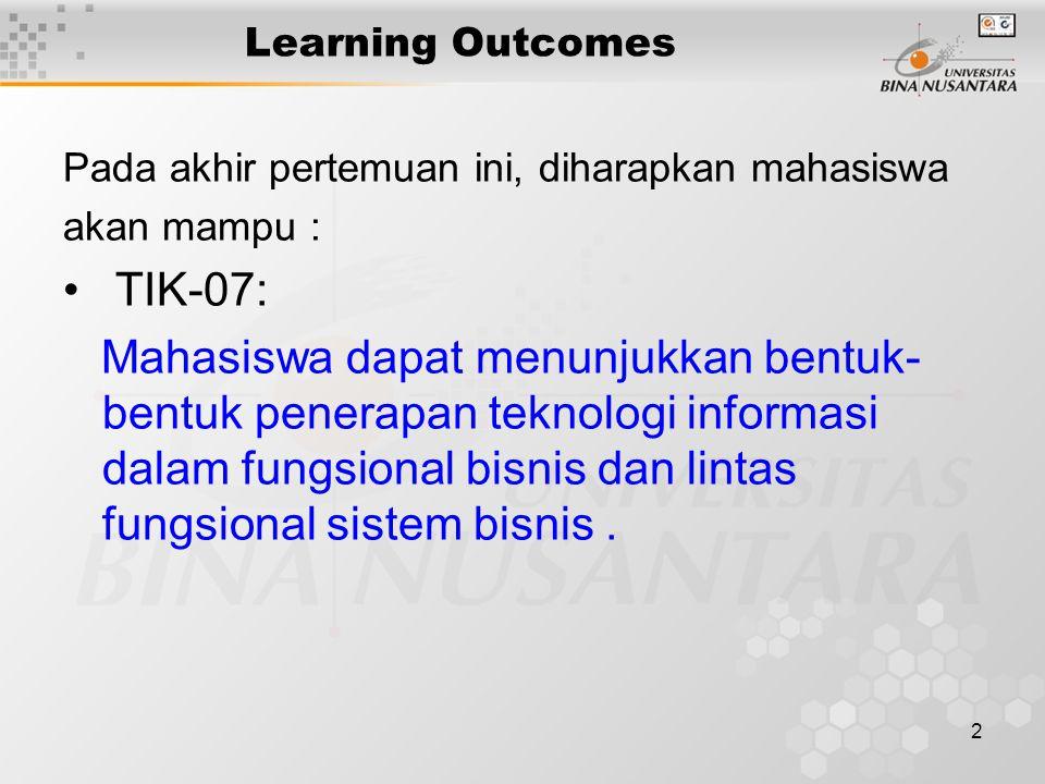 Learning Outcomes Pada akhir pertemuan ini, diharapkan mahasiswa. akan mampu : TIK-07: