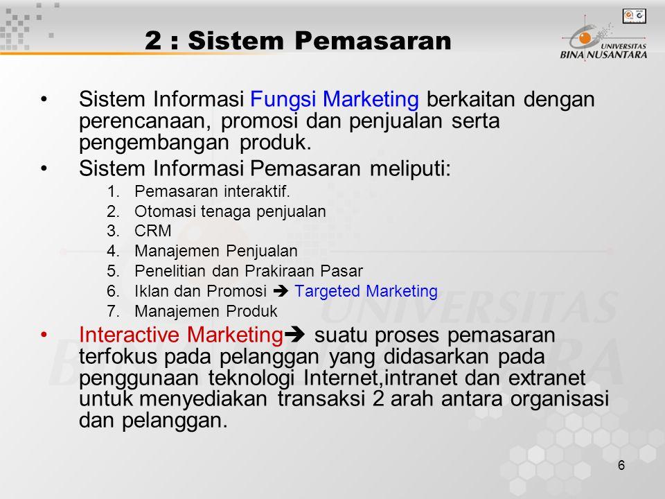2 : Sistem Pemasaran Sistem Informasi Fungsi Marketing berkaitan dengan perencanaan, promosi dan penjualan serta pengembangan produk.