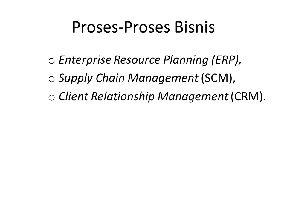 Proses-Proses Bisnis Enterprise Resource Planning (ERP),