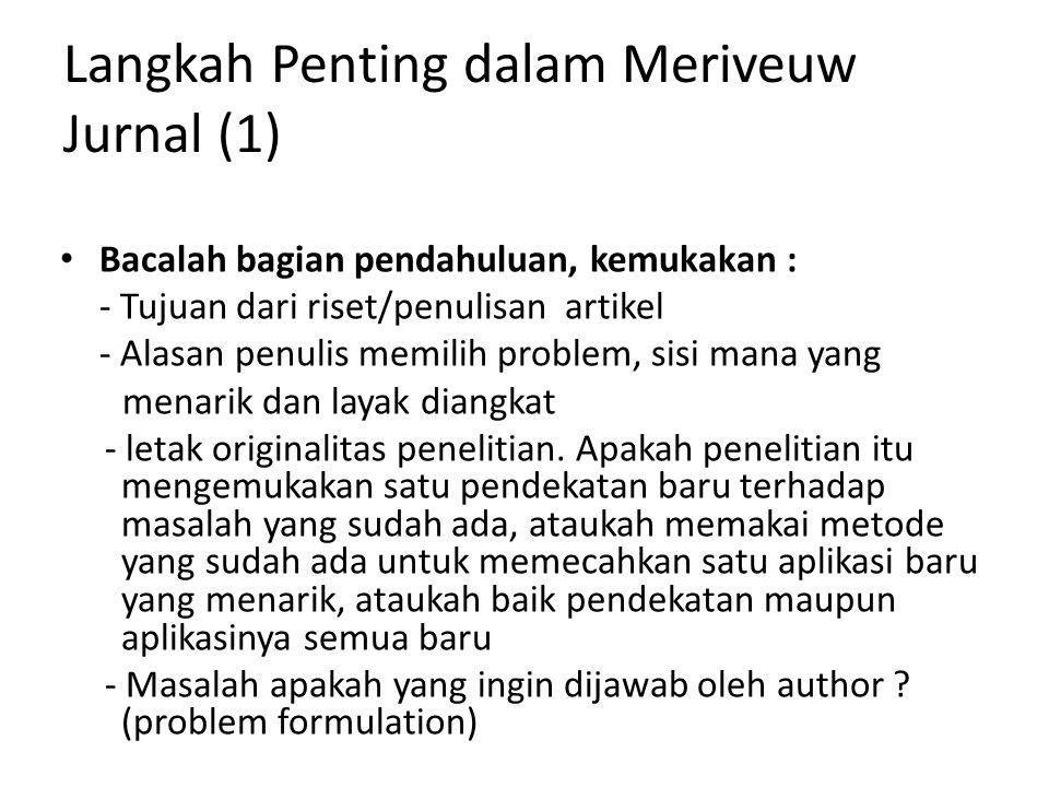Langkah Penting dalam Meriveuw Jurnal (1)