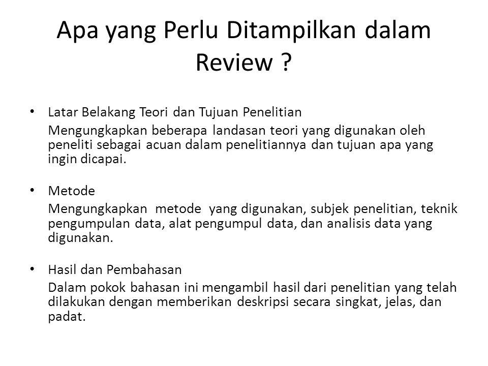 Apa yang Perlu Ditampilkan dalam Review
