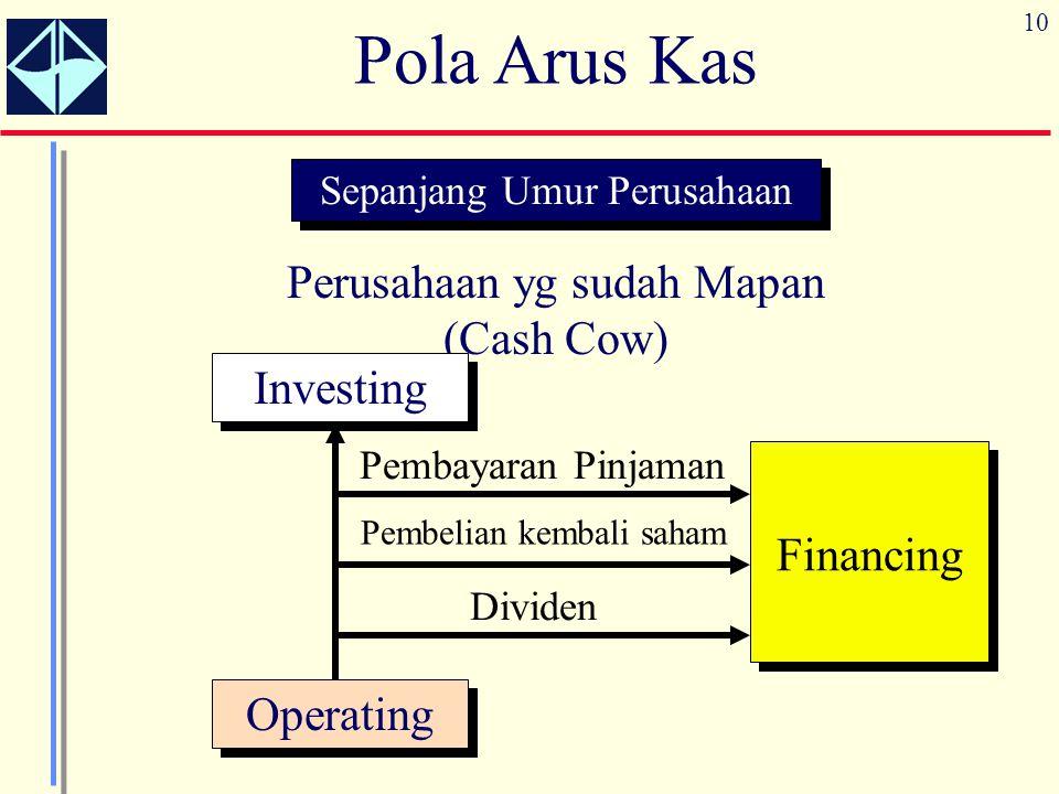 Pola Arus Kas Perusahaan yg sudah Mapan (Cash Cow) Investing Financing