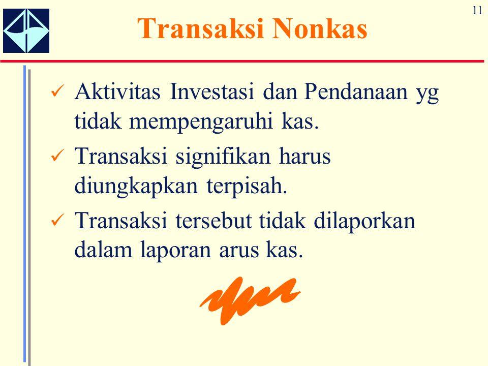 Transaksi Nonkas Aktivitas Investasi dan Pendanaan yg tidak mempengaruhi kas. Transaksi signifikan harus diungkapkan terpisah.