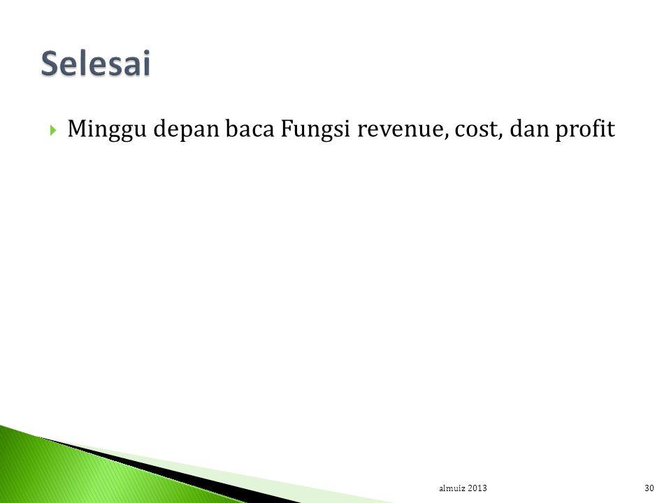 Selesai Minggu depan baca Fungsi revenue, cost, dan profit almuiz 2013