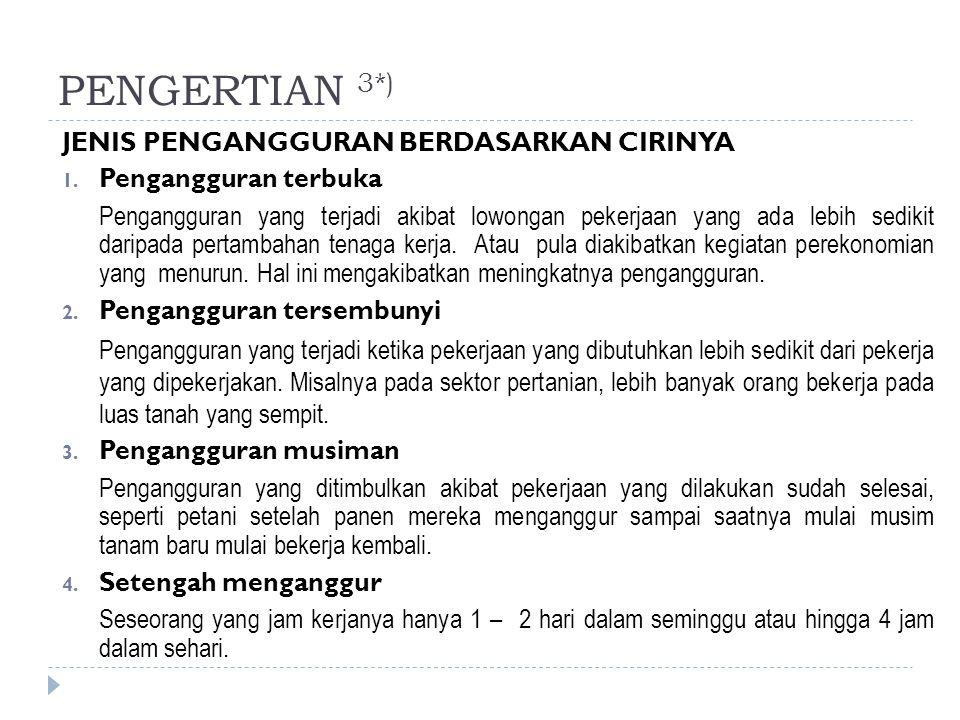 PENGERTIAN 3*) JENIS PENGANGGURAN BERDASARKAN CIRINYA