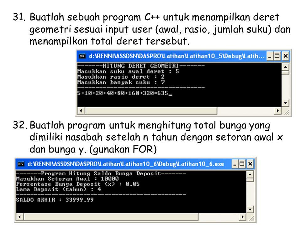 Buatlah sebuah program C++ untuk menampilkan deret geometri sesuai input user (awal, rasio, jumlah suku) dan menampilkan total deret tersebut.