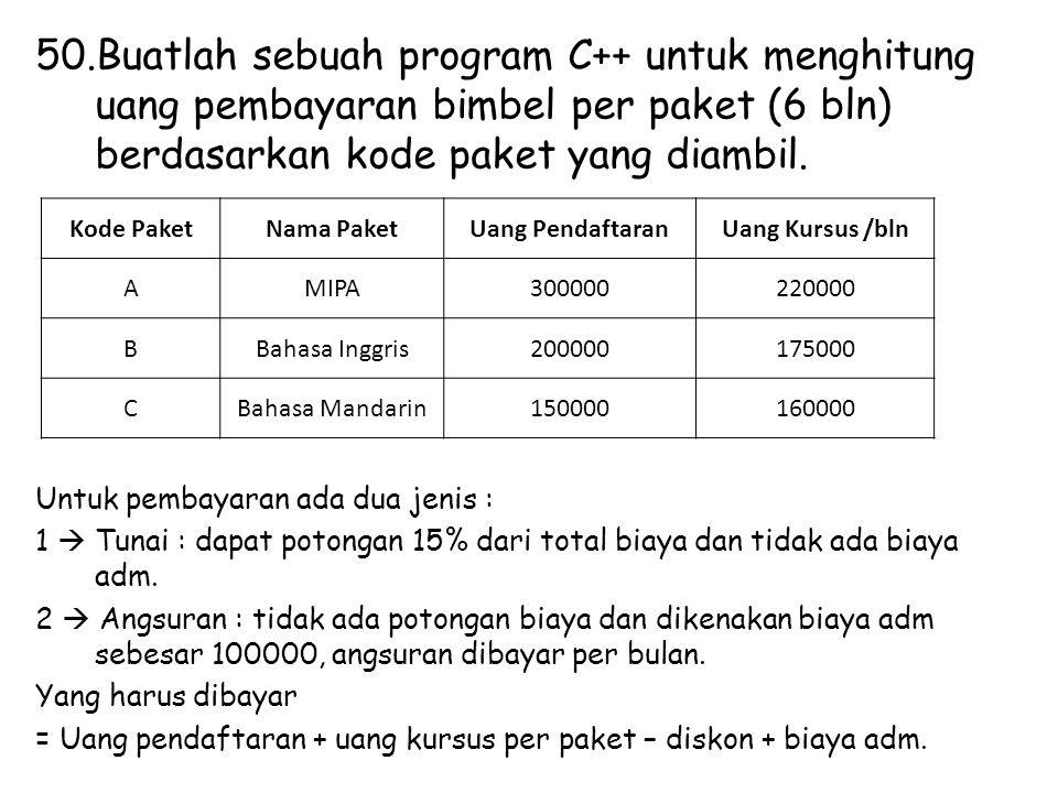 Buatlah sebuah program C++ untuk menghitung uang pembayaran bimbel per paket (6 bln) berdasarkan kode paket yang diambil.