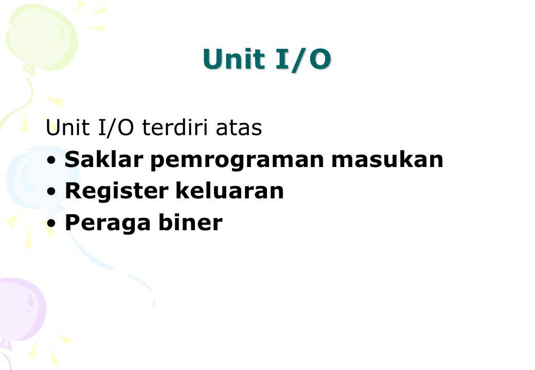 Unit I/O Unit I/O terdiri atas Saklar pemrograman masukan