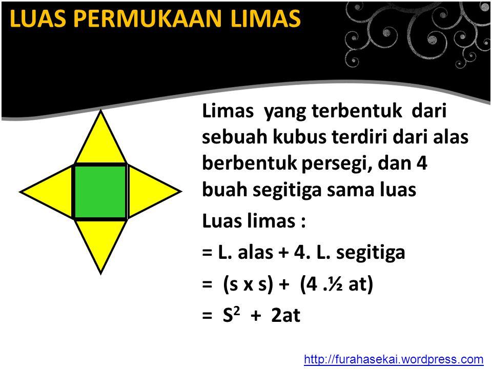 LUAS PERMUKAAN LIMAS Limas yang terbentuk dari sebuah kubus terdiri dari alas berbentuk persegi, dan 4 buah segitiga sama luas.