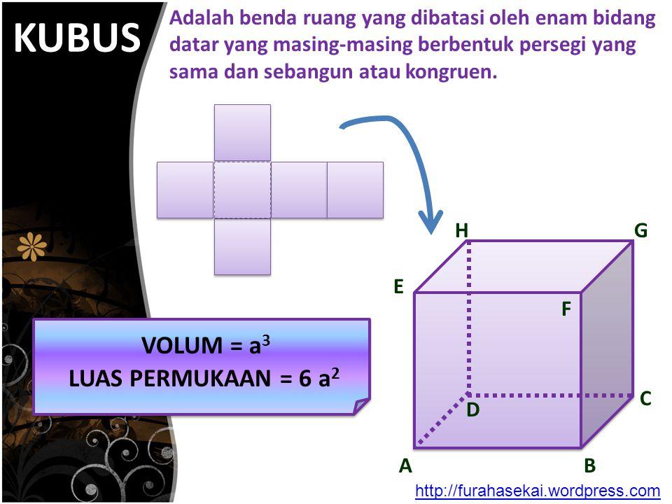 KUBUS VOLUM = a3 LUAS PERMUKAAN = 6 a2