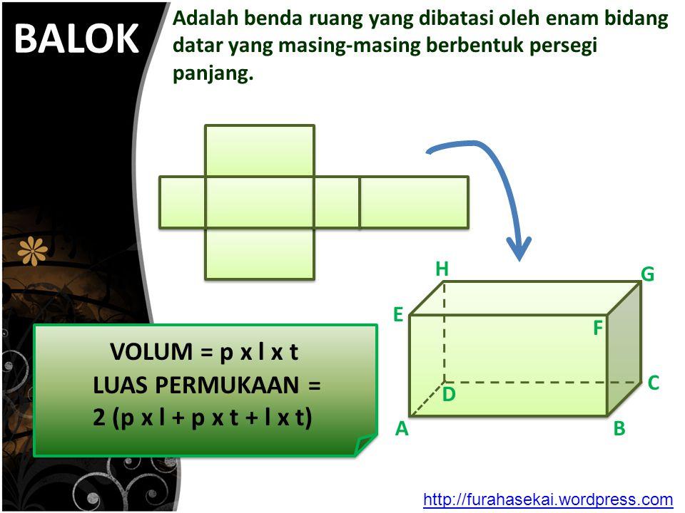 BALOK VOLUM = p x l x t LUAS PERMUKAAN = 2 (p x l + p x t + l x t)